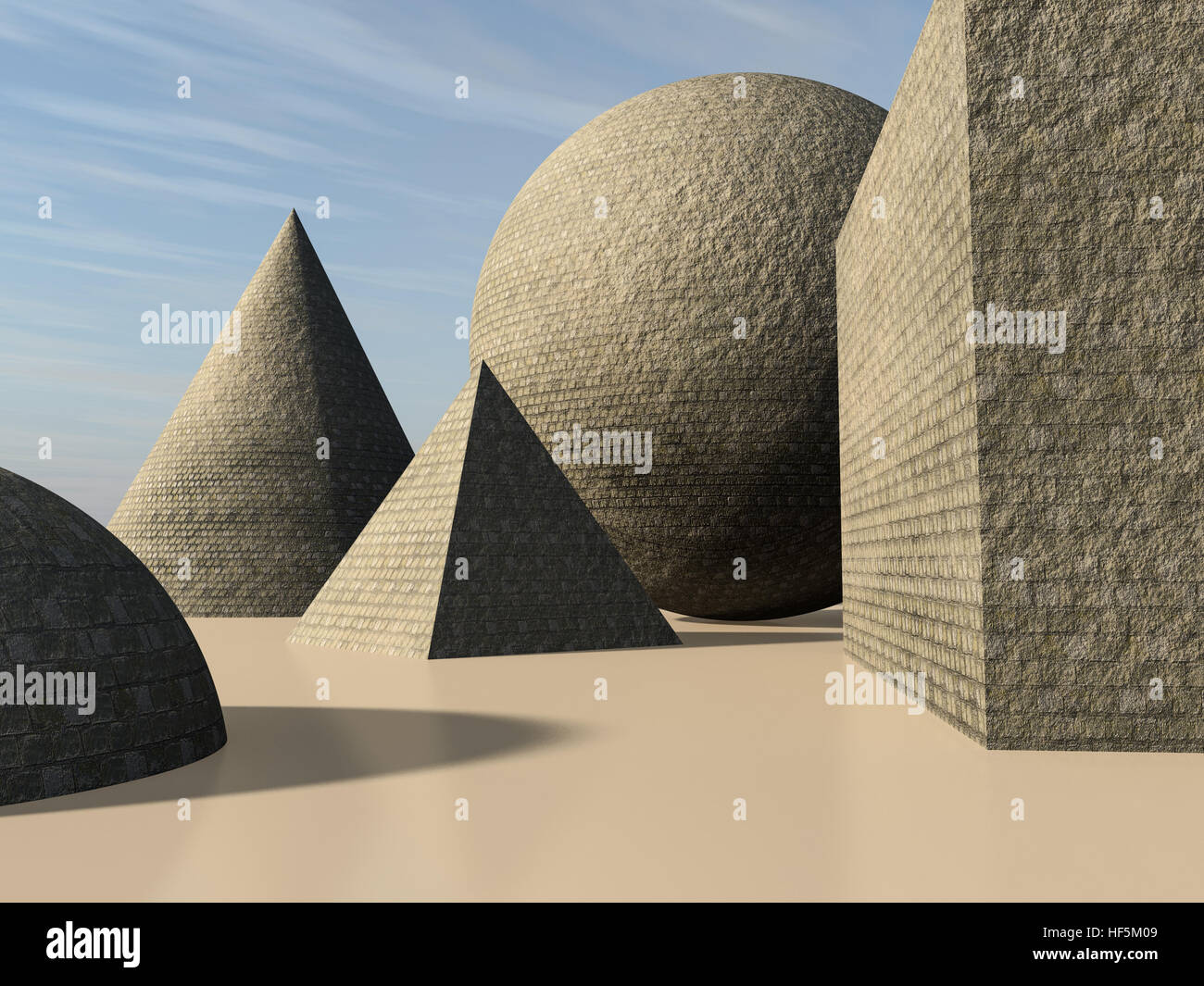 An abstract background with primitive cone, pyramid, sphere and cube shapes made of stone bricks, 3d illustration. - Stock Image
