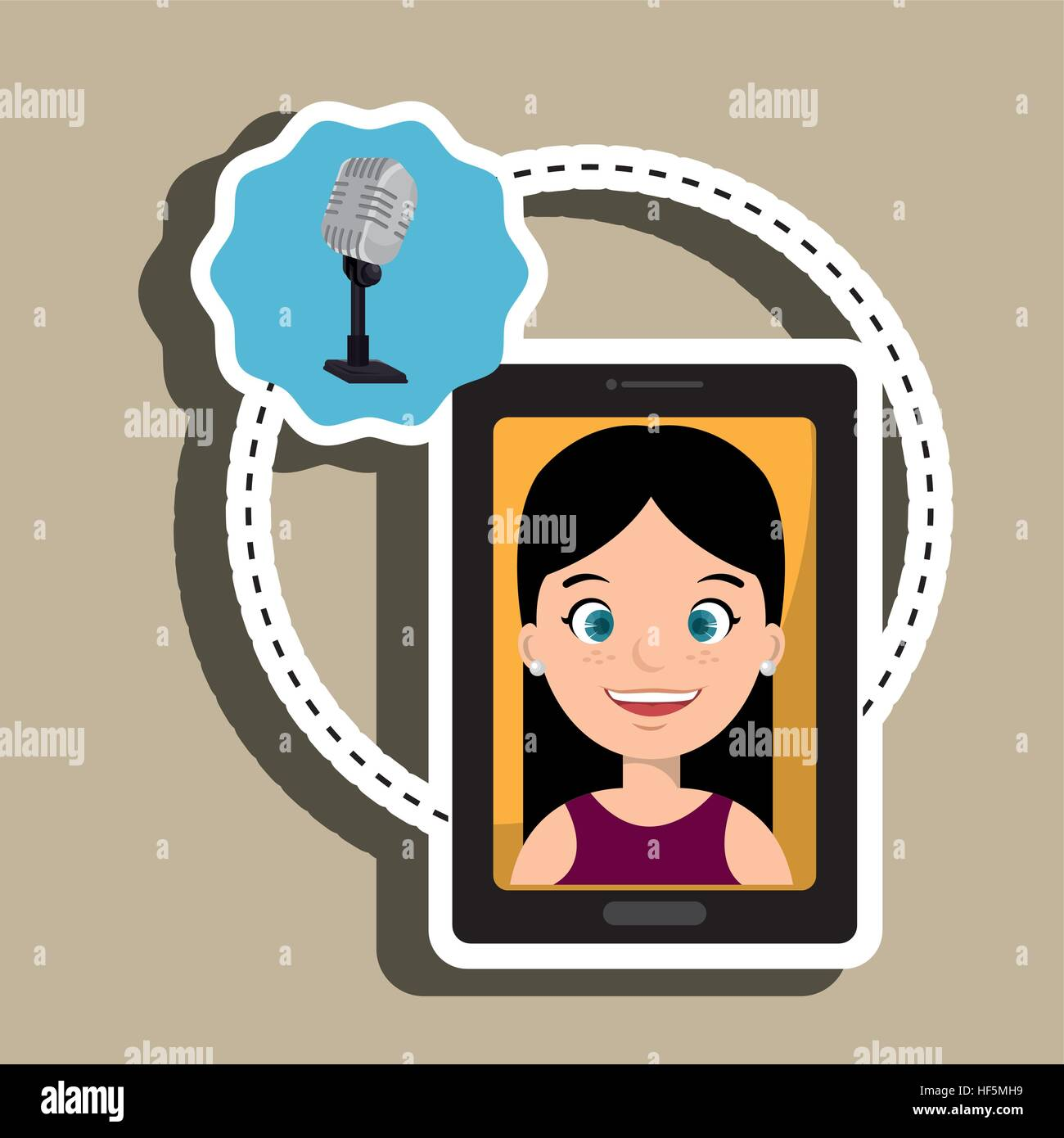 woman cartoon smartphone microphone red background vector illustration eps 10 Stock Vector