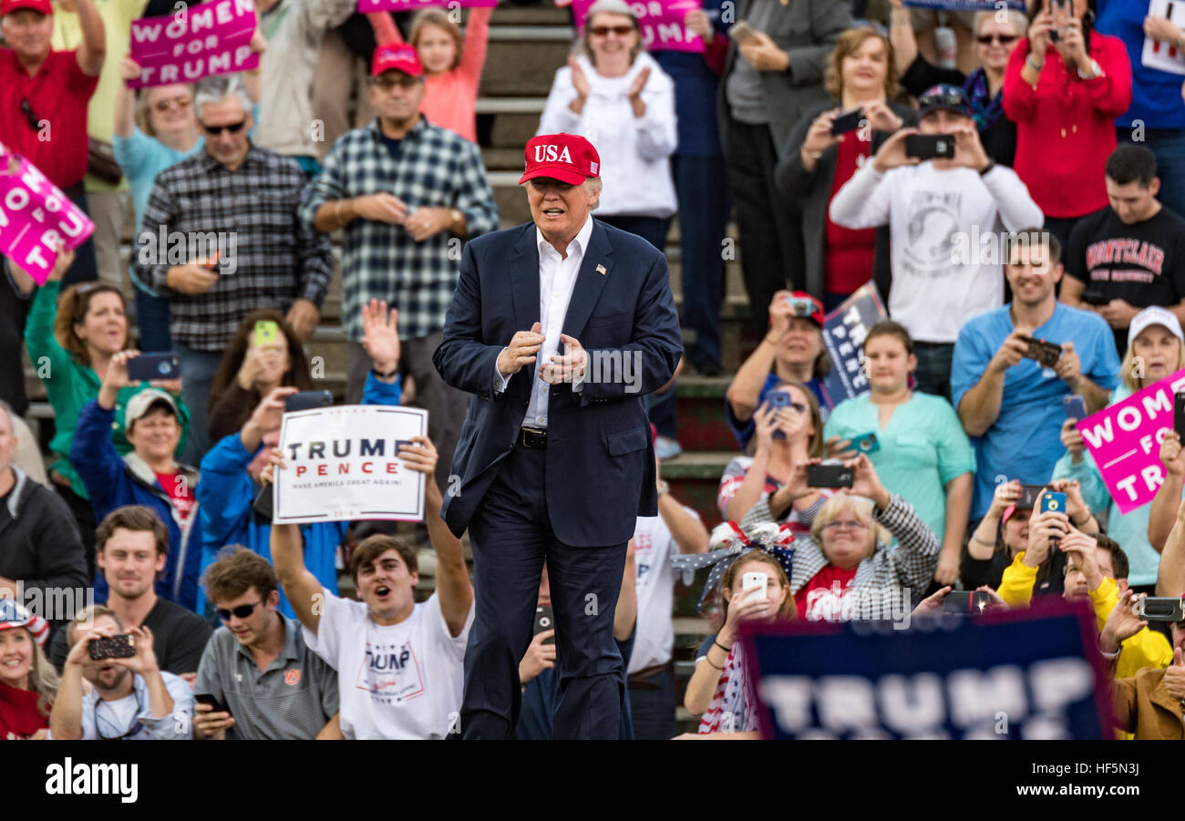 US President-elect Donald J. Trump takes the stage in Mobile, Alabama! - Stock Image