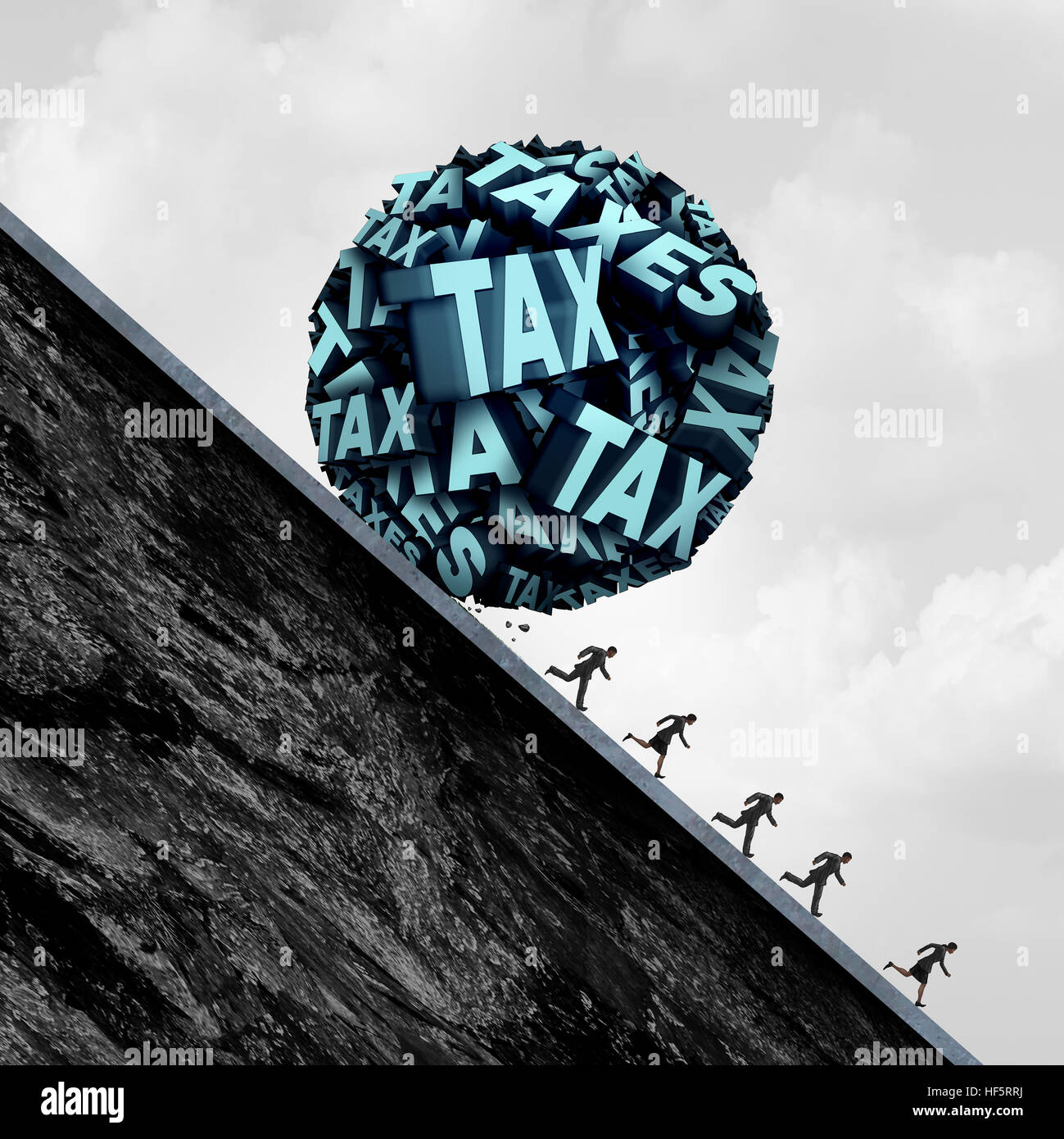 Tax stress concept and taxation stress symbol as a group of text shaped as a ball rolling down a hill towards people - Stock Image