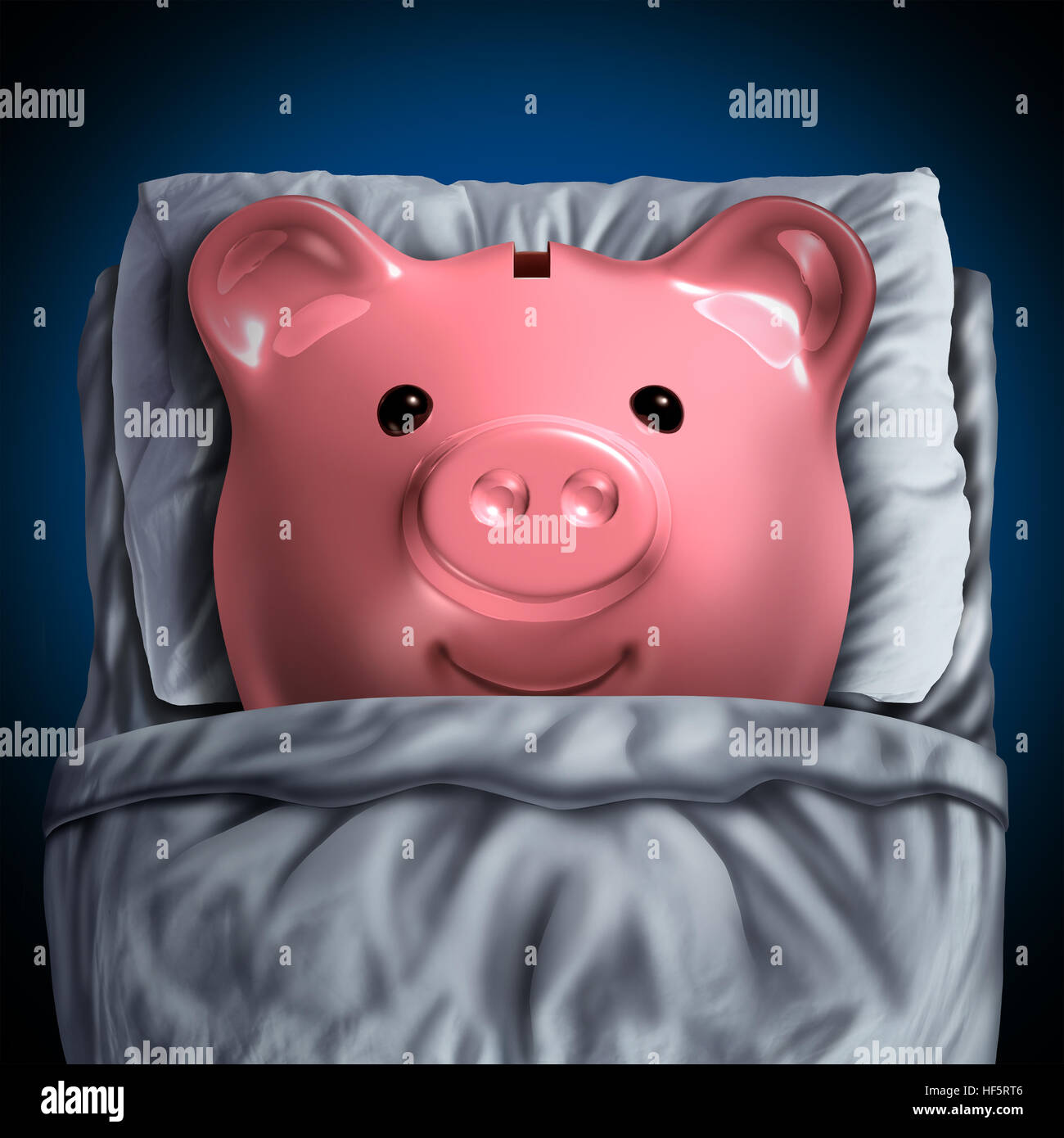 Inactive savings banking account symbol as a piggy bank resting in bed as a dormant unclaimed financial investment - Stock Image