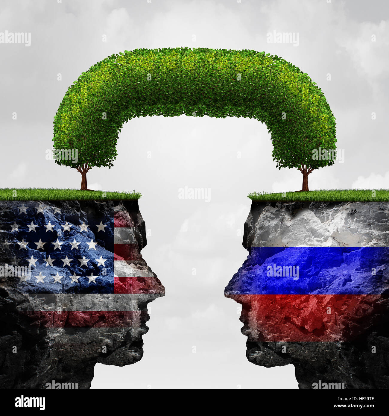 American Russian cooperation or Russia  United states partnership and international trade and political agreement - Stock Image
