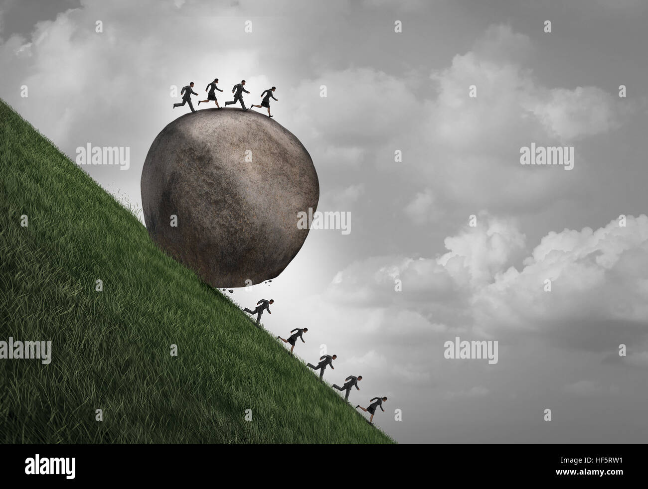 Employment inequality concept as a group of people running away from a rolling boulder with businesspeople on top - Stock Image
