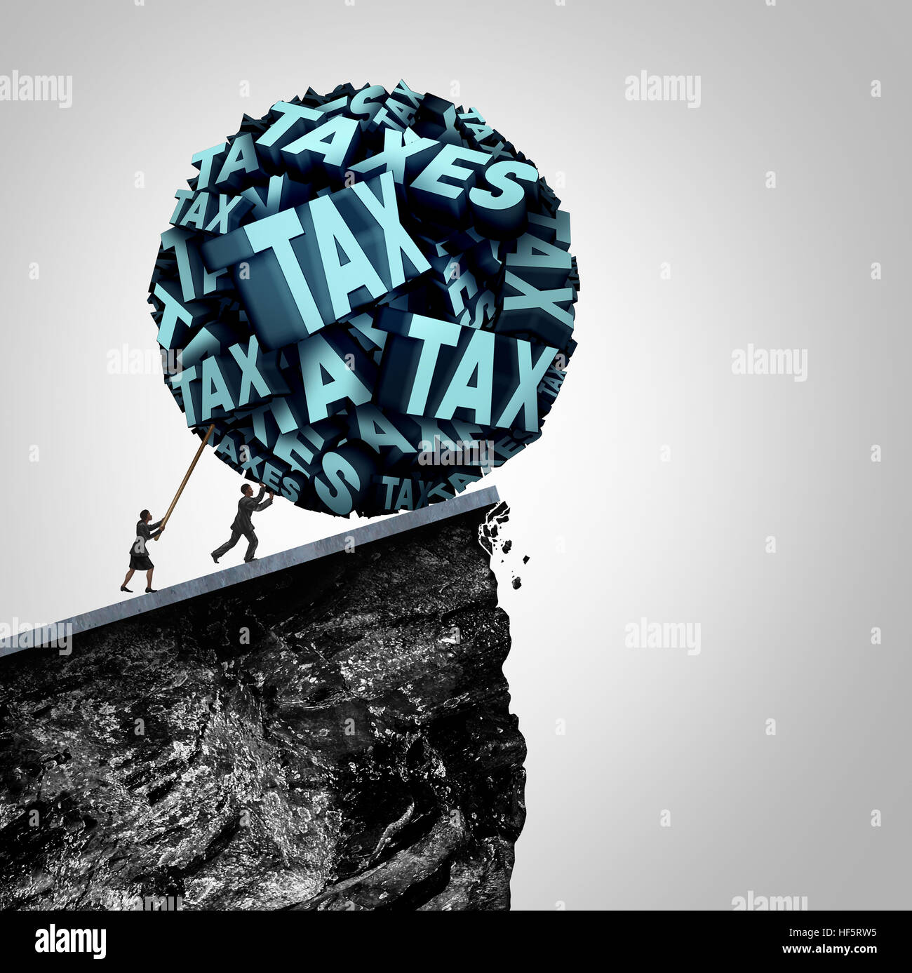 Tax strategy concept as an accountant and bookkeeping symbol as people pushing a huge ball made of taxes text being - Stock Image