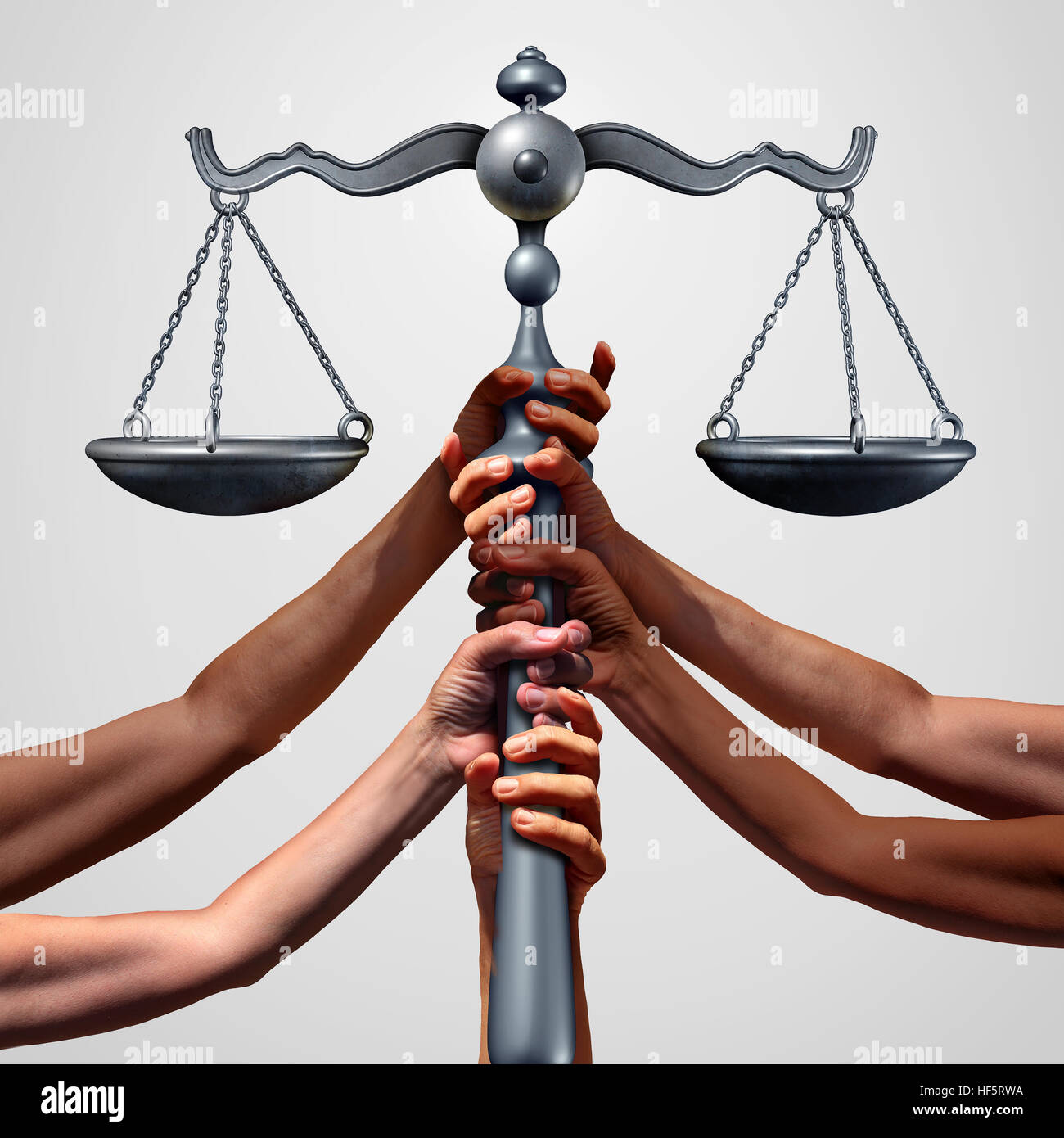 Social justice concept or class action lawsuit as a group of diverse ethnic people hands holding a court law scale - Stock Image