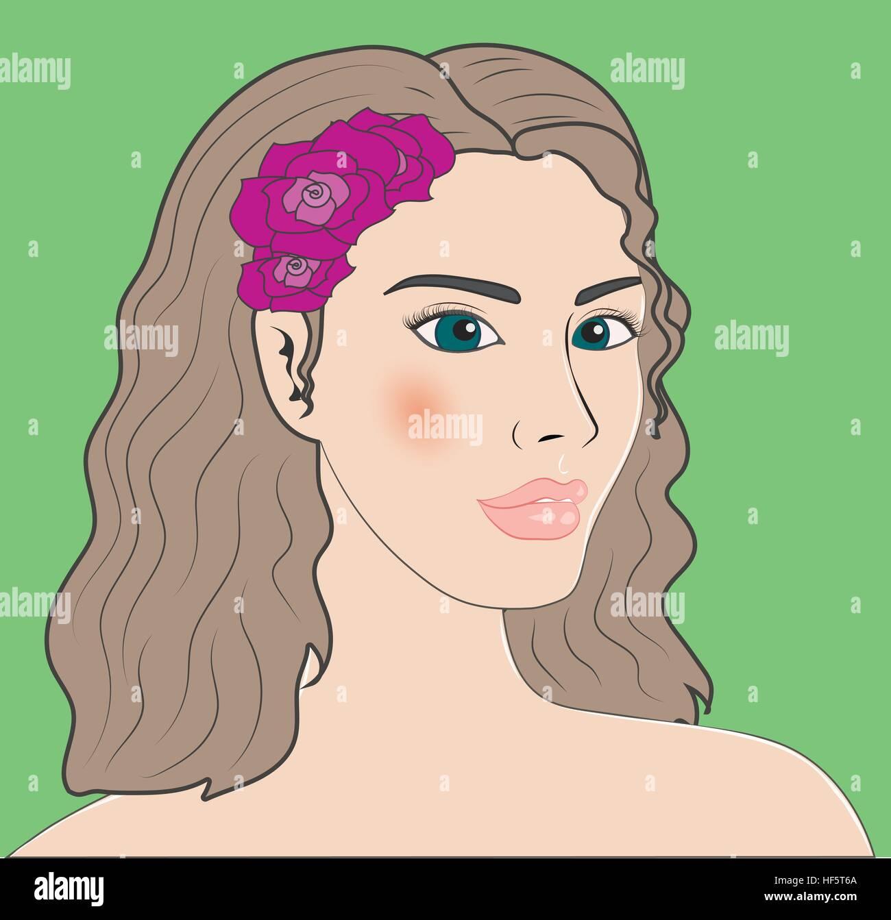 Virgo beautiful girl portrait Stock Vector