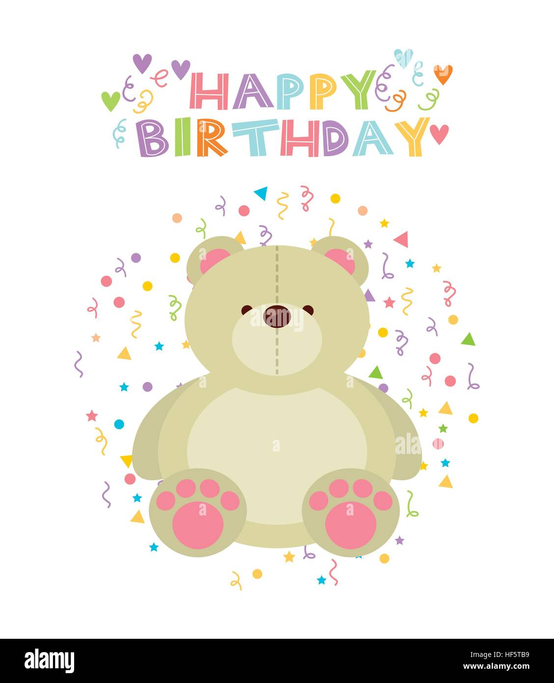 Happy Birthday Card With Cute Bear Icon Over White Background Colorful Design Vector Illustration