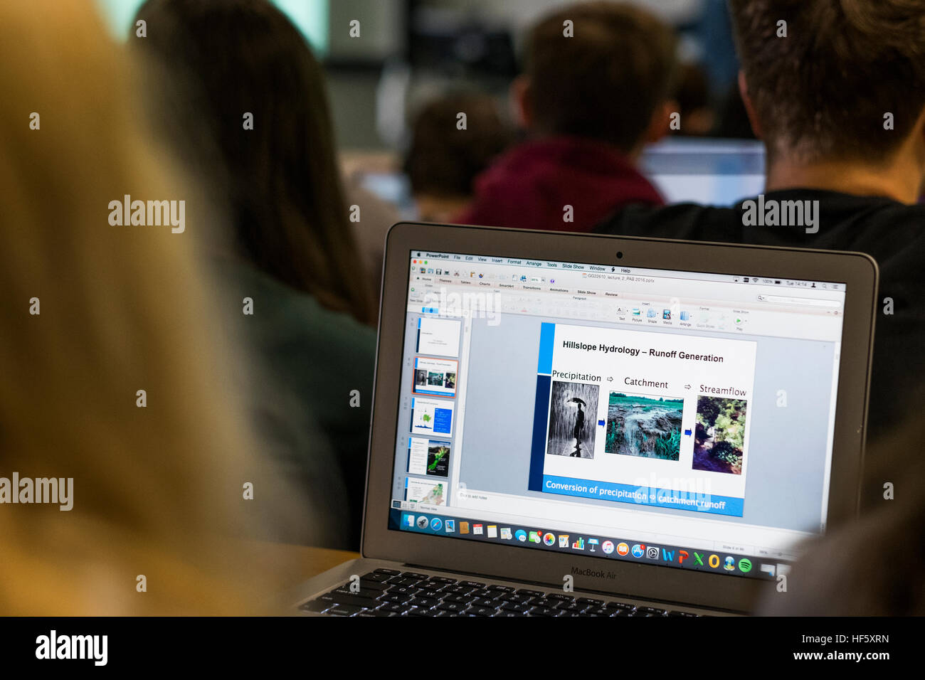 Higher Education in the UK: Aberystwyth University students using their laptop computers   in a lecture on the campus Stock Photo