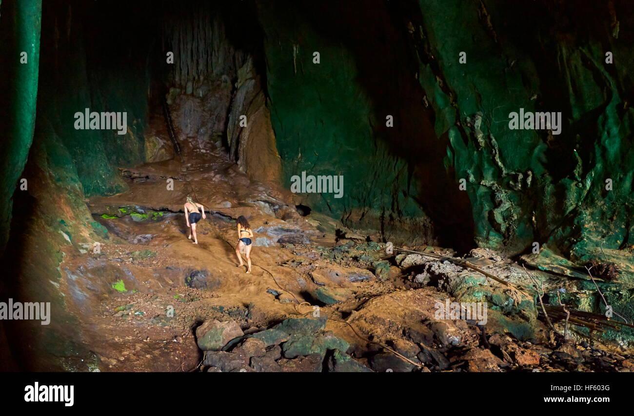 Underground exploring Ko Talabeng Cave, Krabi Province, Thailand - Stock Image