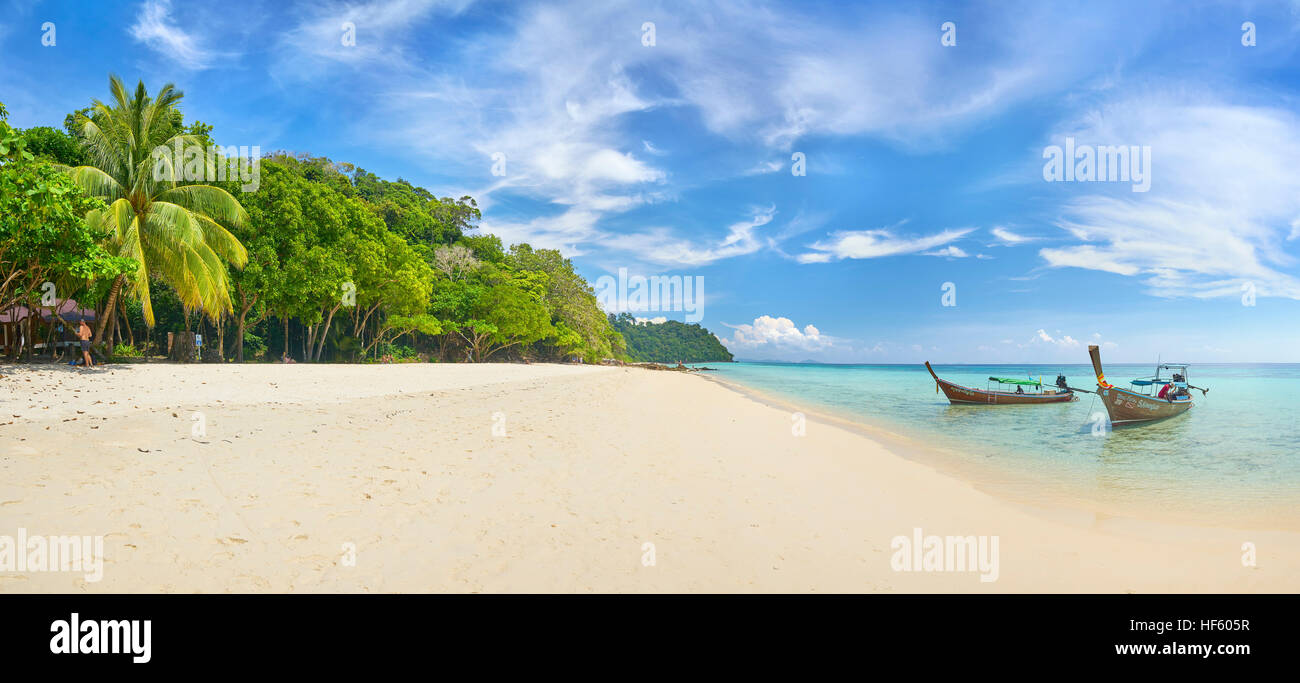 Panoramic landscape view of sandy Beach, Bu Bu Island, Krabi Province, Thailand - Stock Image