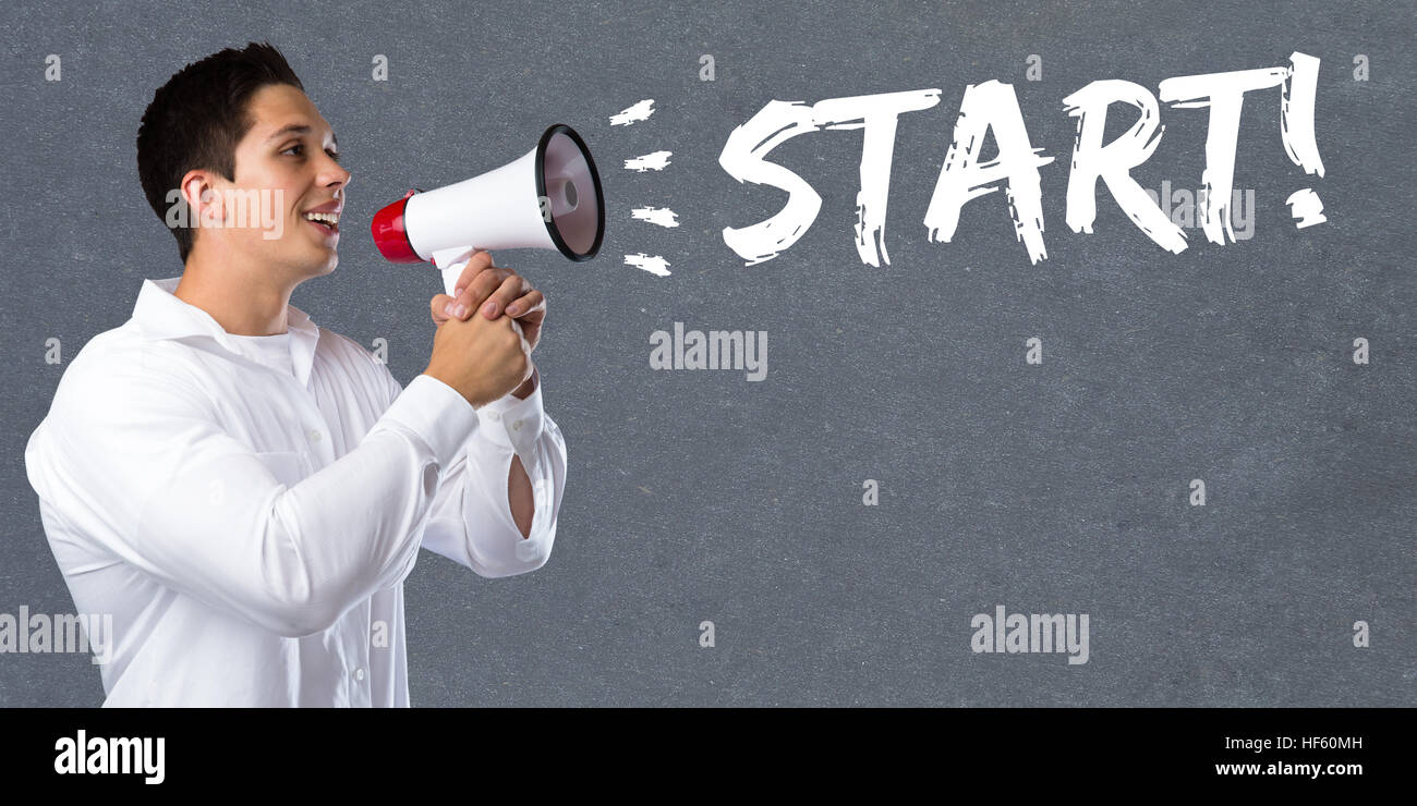 Start starting running race sport sports young man megaphone bullhorn - Stock Image
