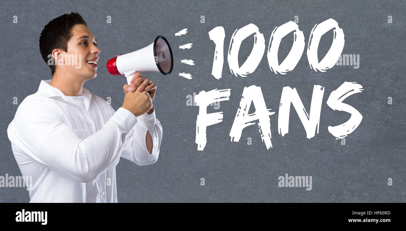 1000 fans likes thousand social networking media young man megaphone bullhorn - Stock Image