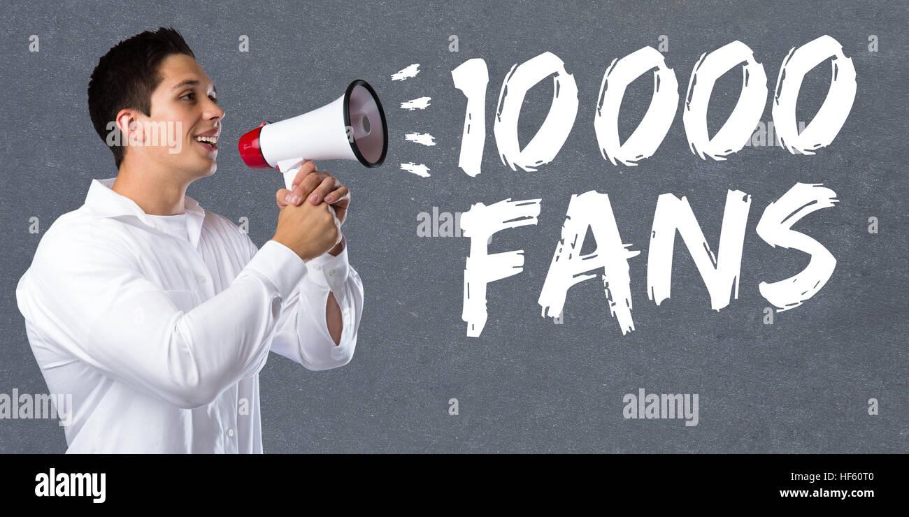 10000 fans likes ten thousand social networking media young man megaphone bullhorn - Stock Image
