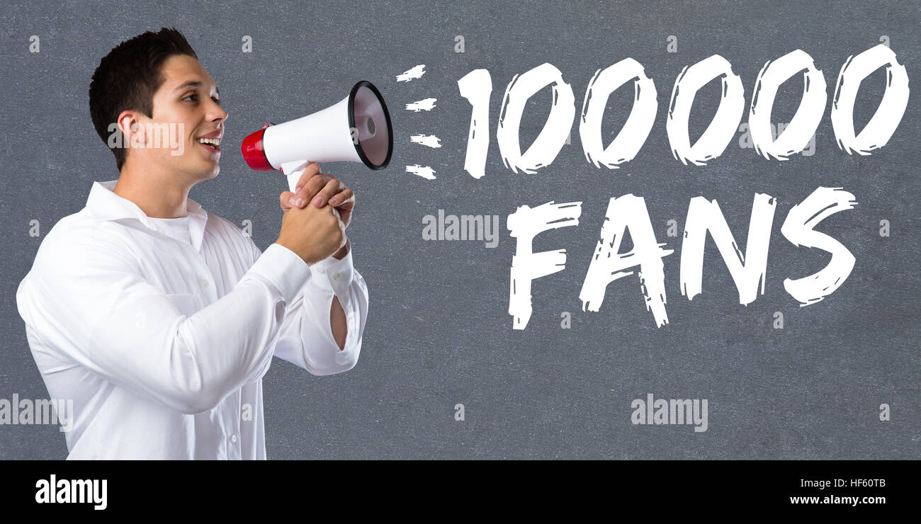 100000 fans likes hundred thousand social networking media young man megaphone bullhorn - Stock Image