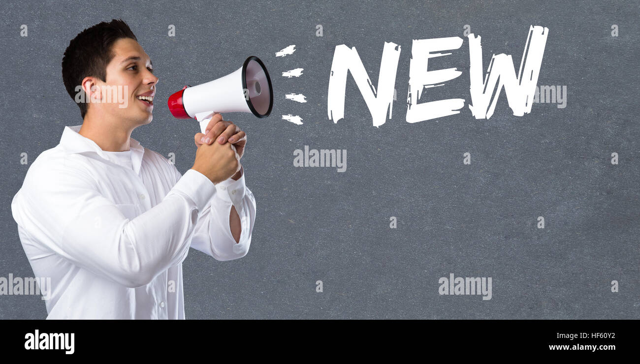 New promotion information advertising advertisement business concept young man megaphone bullhorn - Stock Image