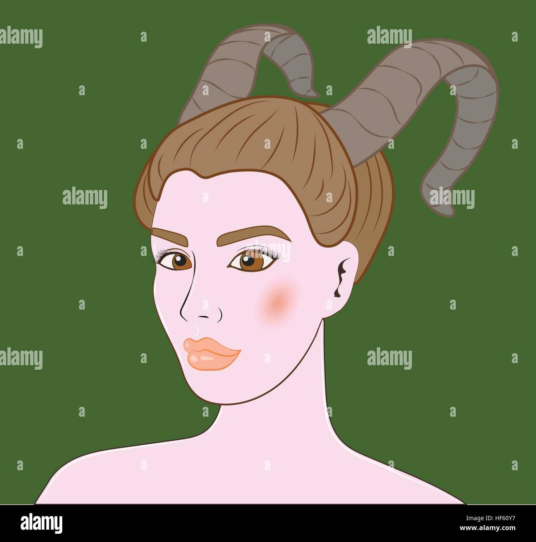 Capricorn beautiful girl portrait Stock Vector