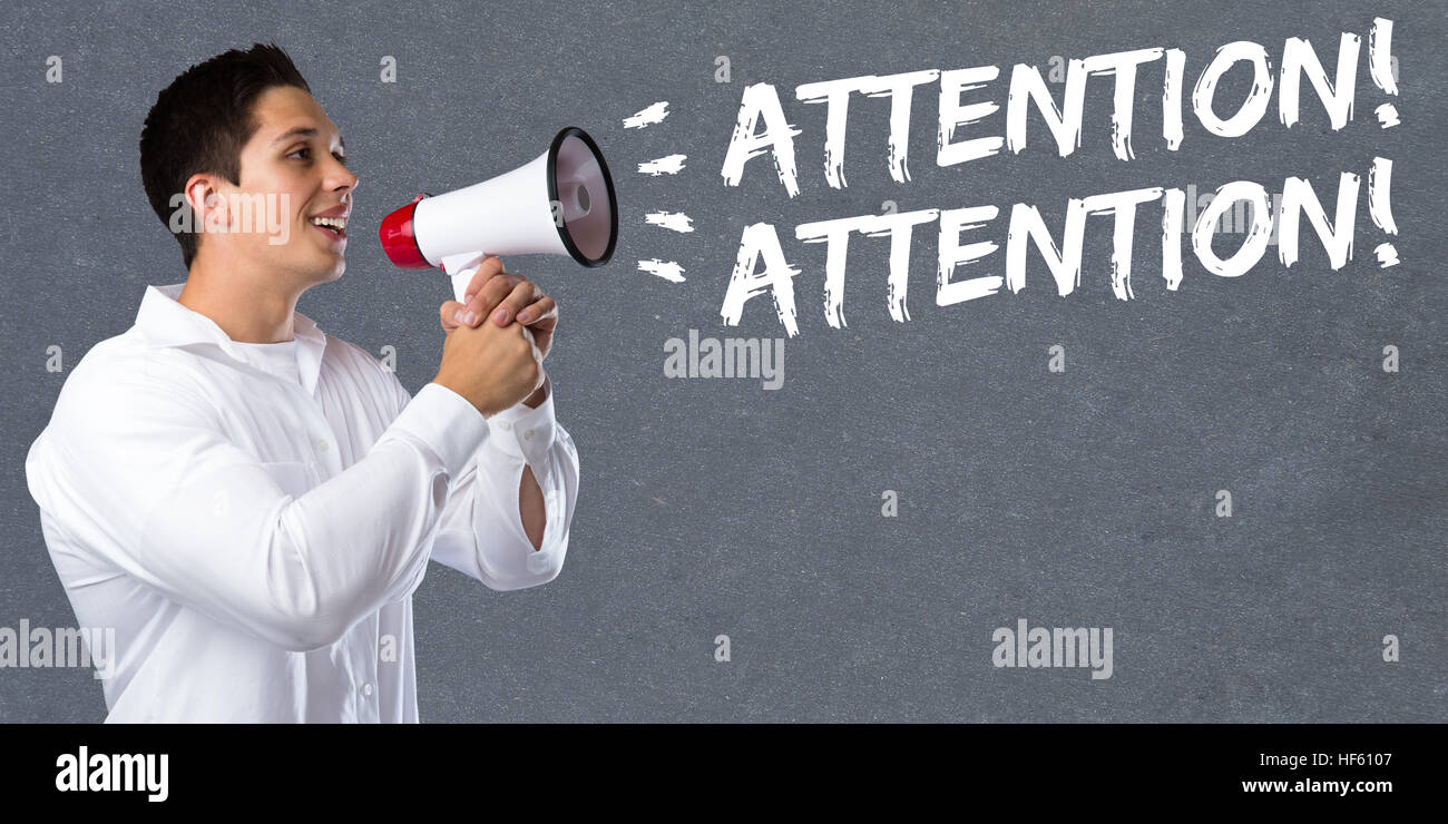 Attention announcement announce warning information young man megaphone bullhorn - Stock Image