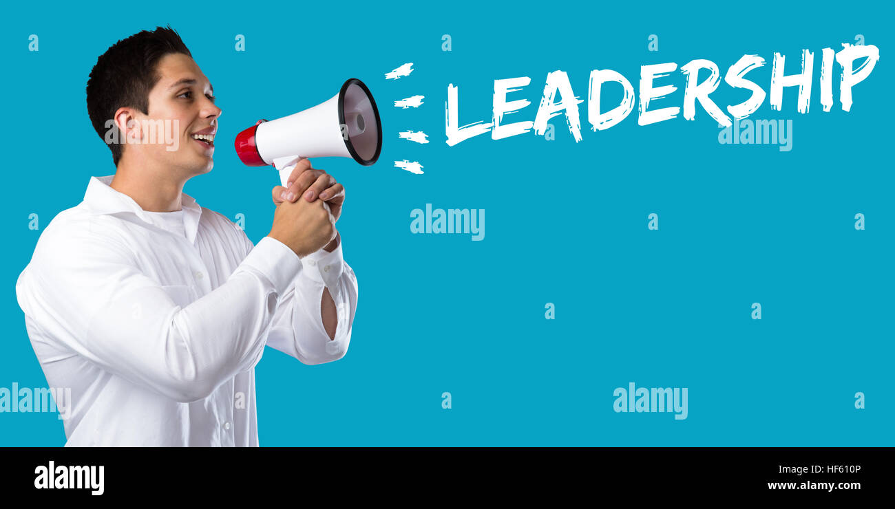 Leadership leading success successful growth finances business concept young man megaphone bullhorn - Stock Image