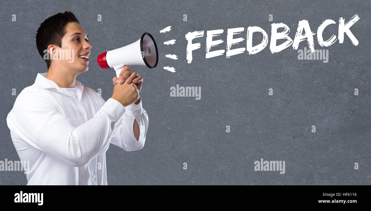 Feedback contact customer service opinion survey business concept review young man megaphone bullhorn - Stock Image