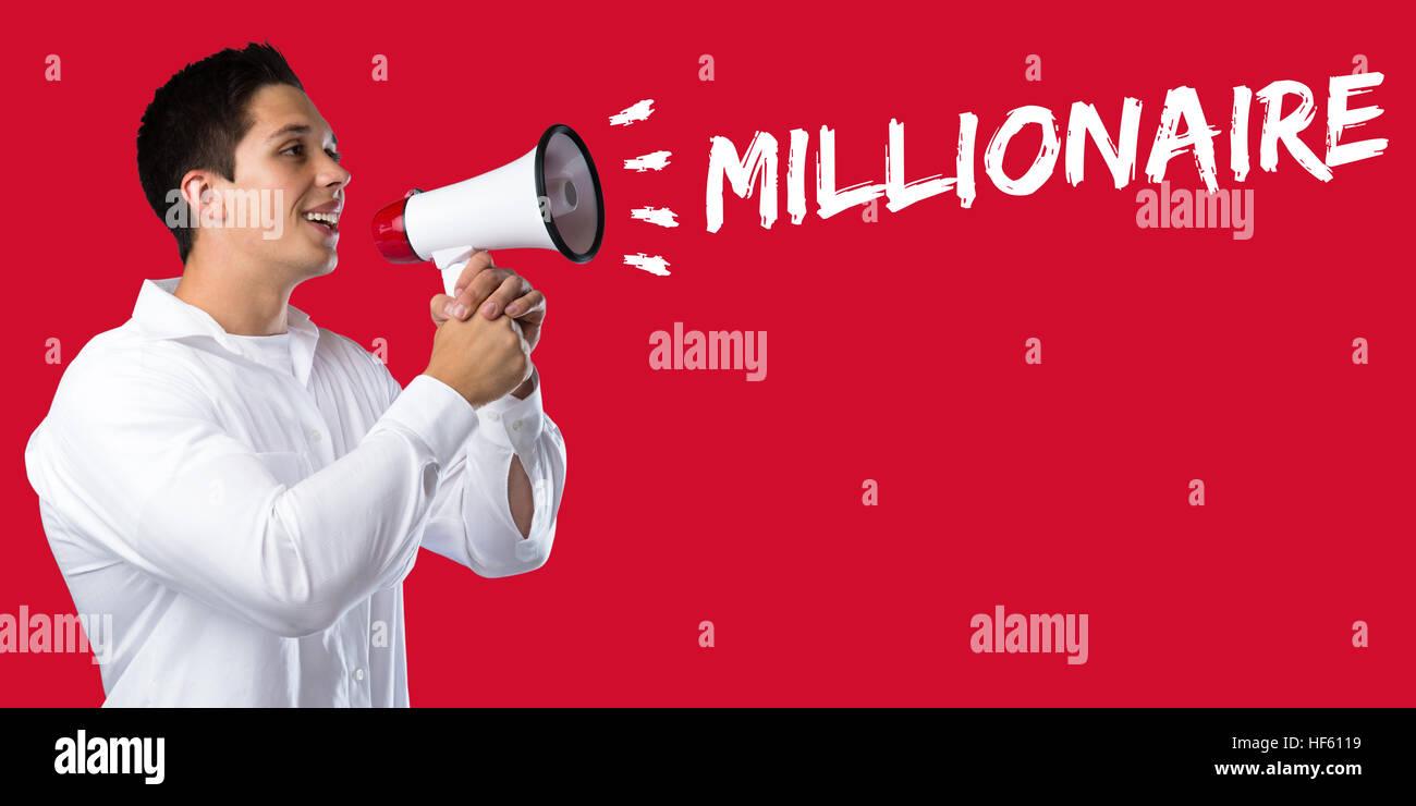 Millionaire rich wealth success successful finances leadership business concept young man megaphone bullhorn - Stock Image