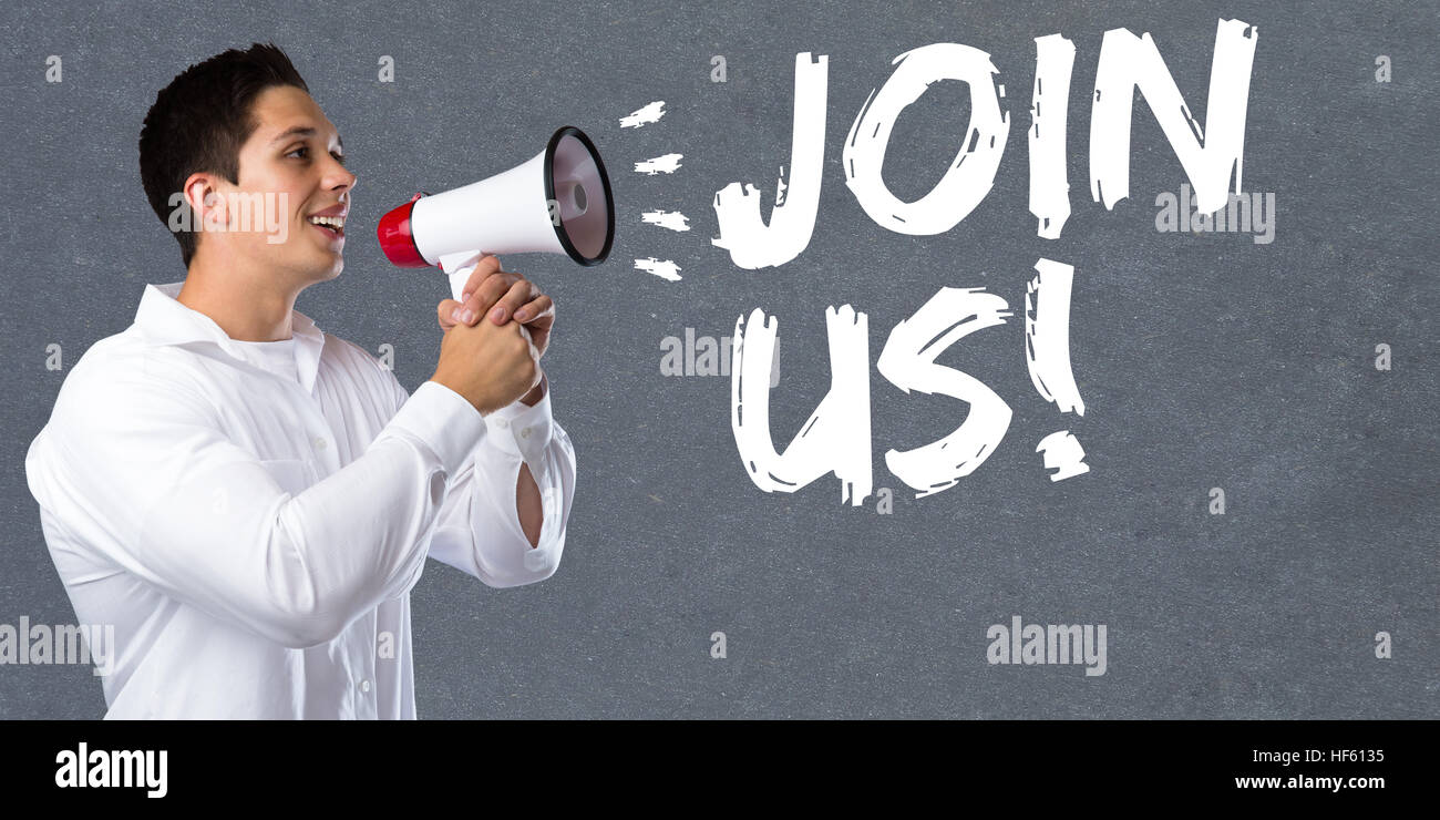Join us participate invitation team sports training young man megaphone bullhorn - Stock Image