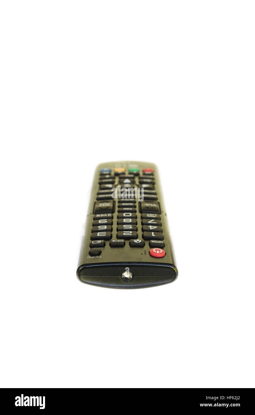 tv remote control isolated to be blurring on white background - Stock Image