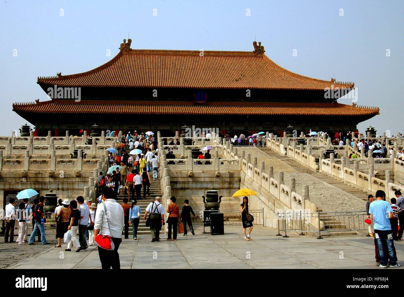 Beijing, China - May 2, 2005:  Two marble staircases lead to the Hall of Supreme Harmony (Tai He Dian) at the Forbidden - Stock Image