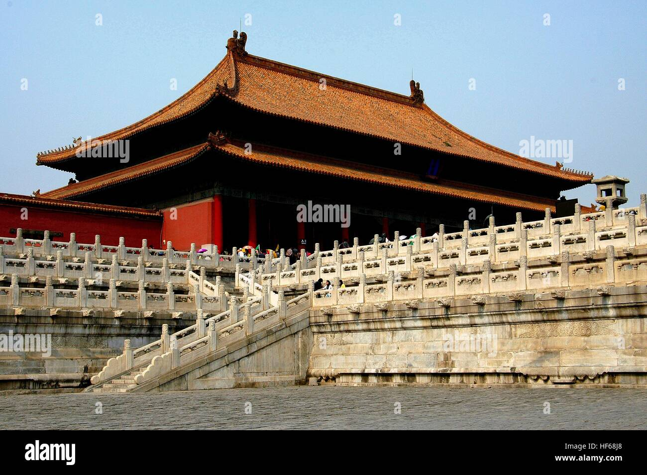 Beijing, China - May 2, 2005:  The Hall of Supreme Harmony with its white marble staircases, waterspouts, and balustrades - Stock Image