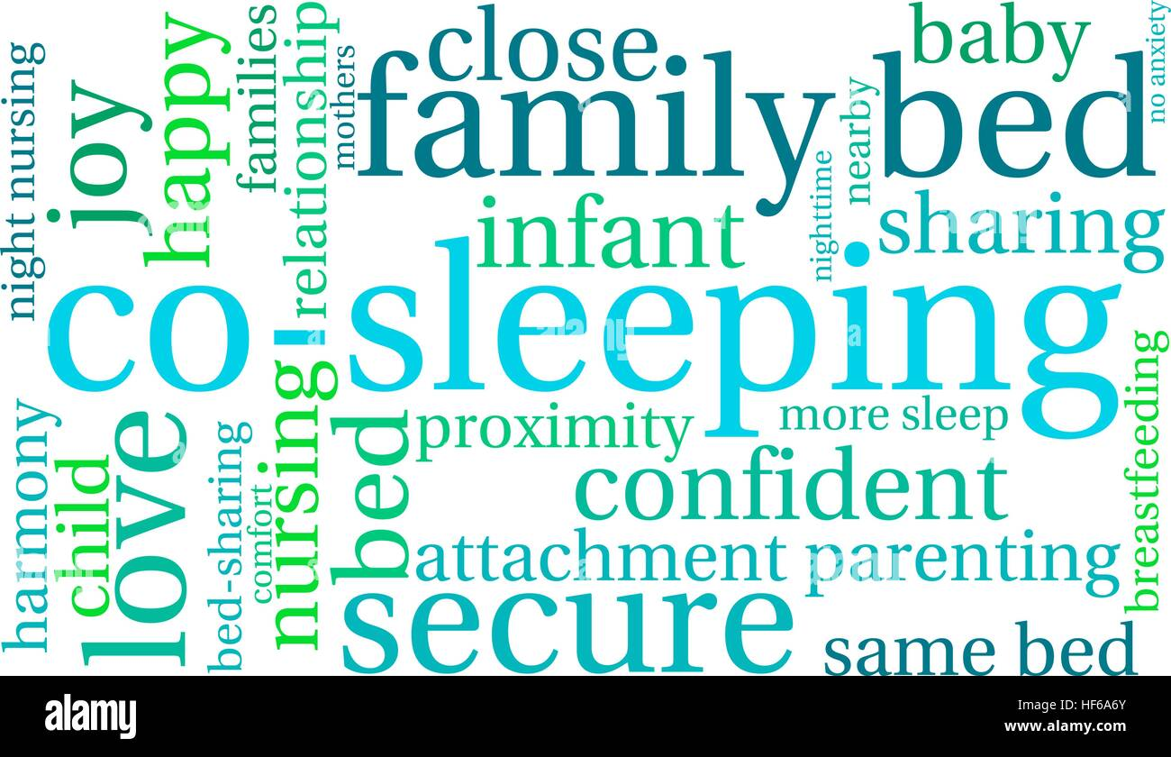 Co-Sleeping word cloud on a white background. - Stock Image