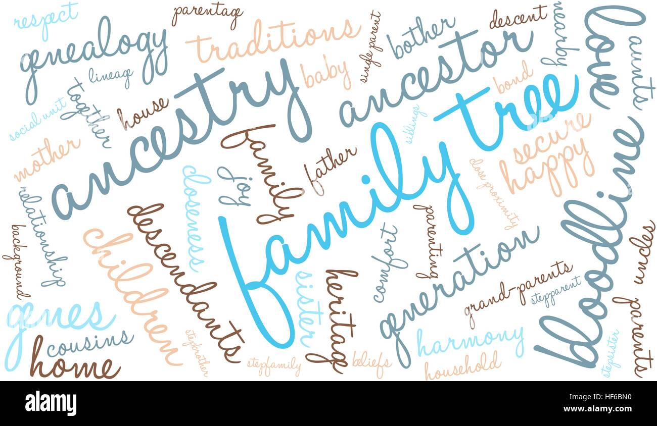 family tree word cloud on a white background stock vector art