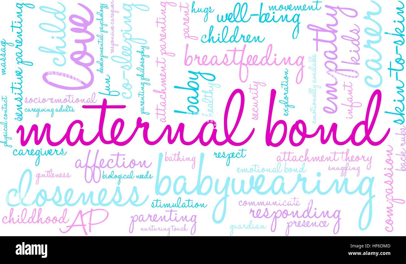 Maternal Bond word cloud on a white background. - Stock Image