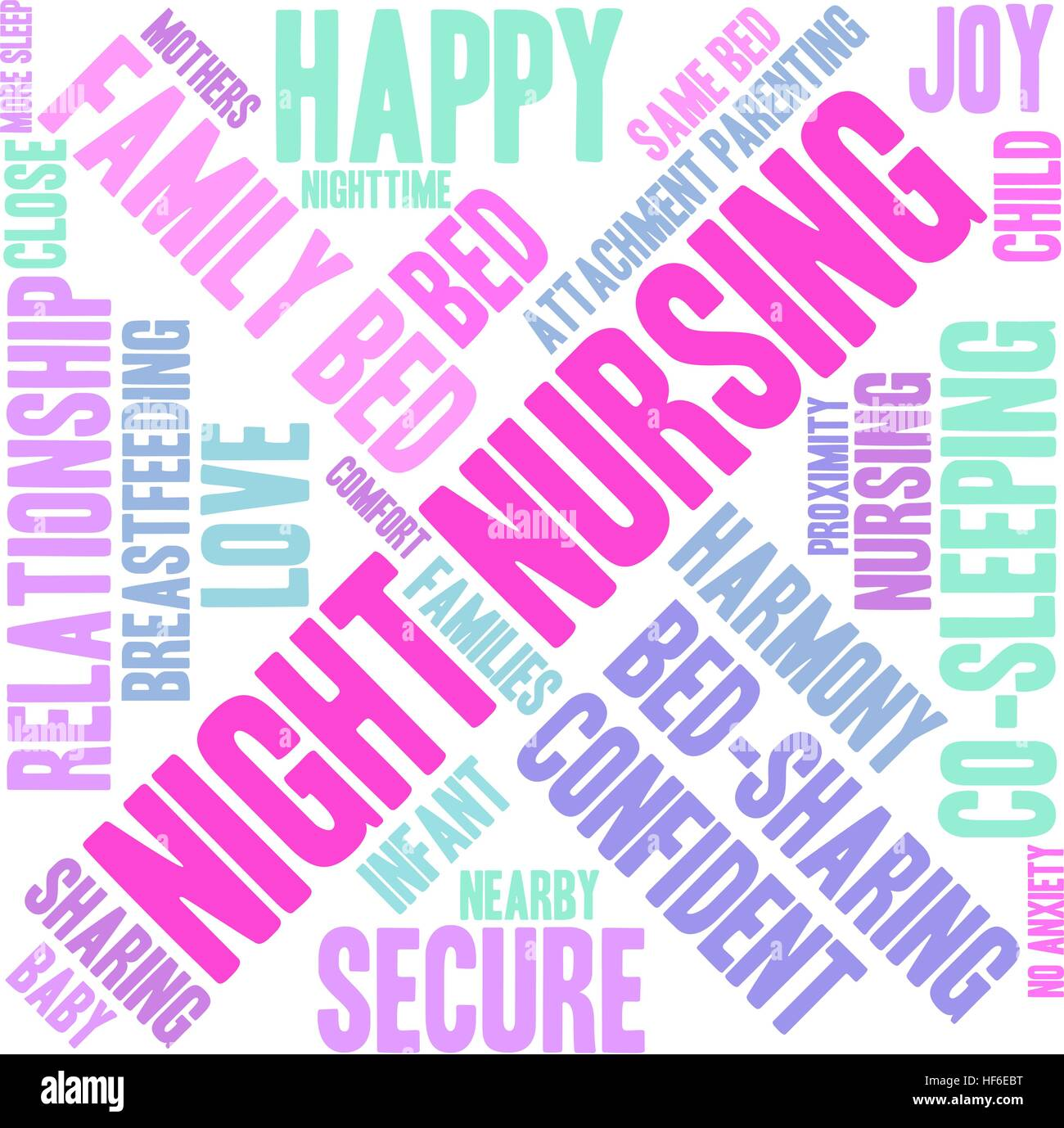 Night Nursing word cloud on a white background. - Stock Image