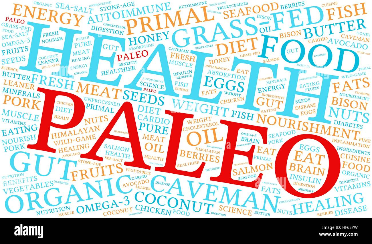 Paleo word cloud on a white background. - Stock Vector