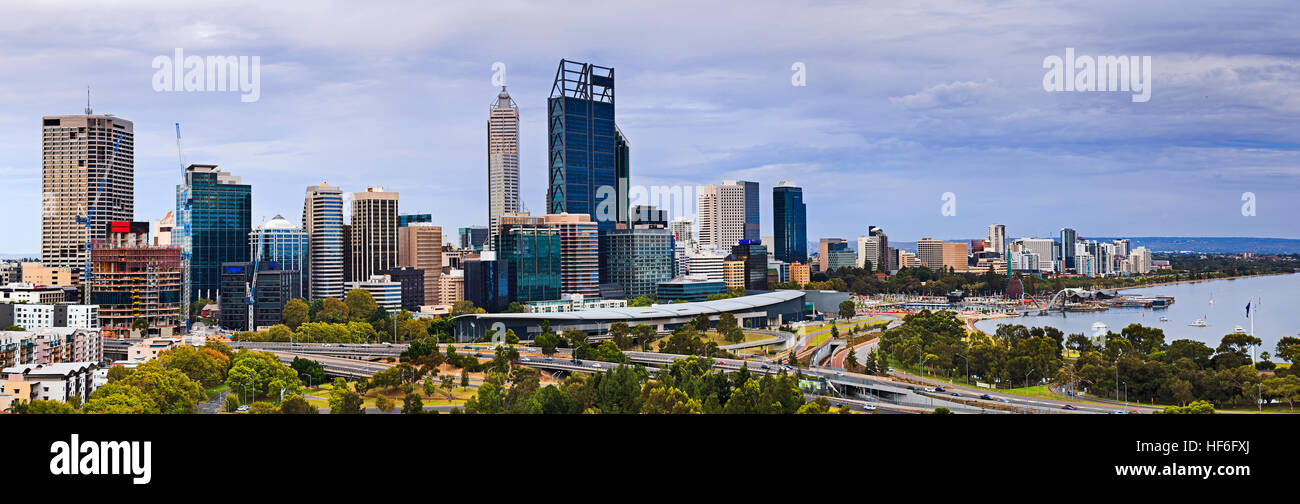 Perth city CBD wide panorama from Kings park elevated lookout on a cloudy summer morning. Skyscrapers and business - Stock Image