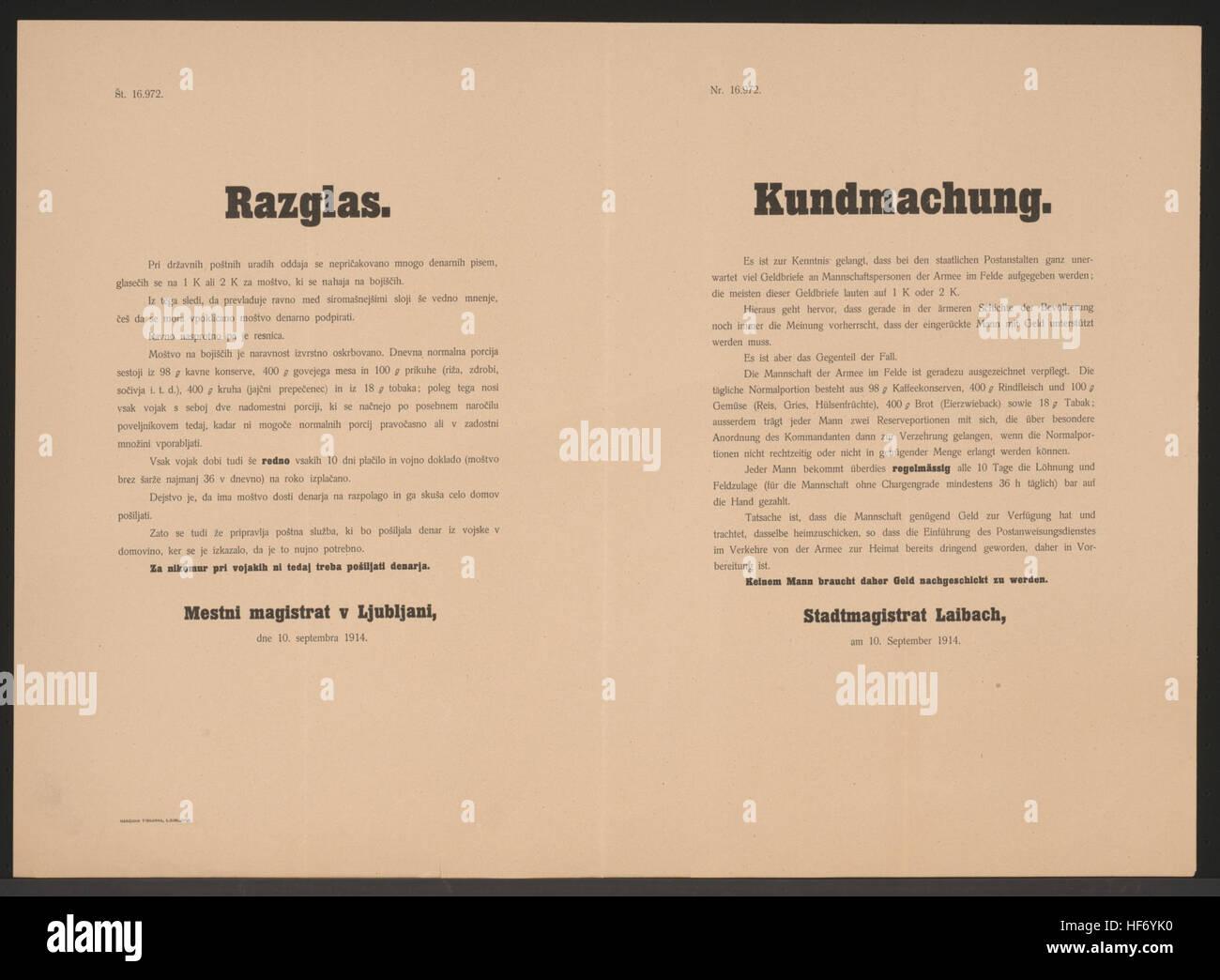 Zur Kenntnis gekommen, dass Geldbriefe an Mannschaftspersonen gesendet wurden - Nicht notwendig - Ausgezeichnete Verpflegung der Armee im Felde - Beschreibung einer Normalportion - Regelmäßige Entlohnung - Keinem Mann braucht daher Geld nachgeschickt zu werden - Stadtmagistrat Laibach, am 10. September 1914 - 16.972 Versorgung der Truppen - Kundmachung - Laibach - Mehrsprachiges Plakat 1914 Stock Photo