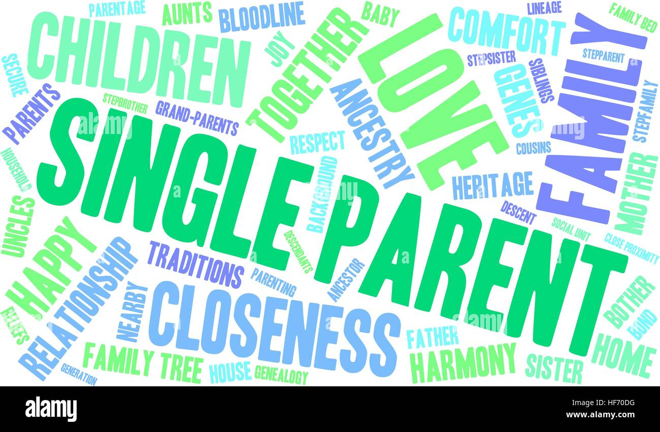 Single Parent word cloud on a white background. Stock Vector