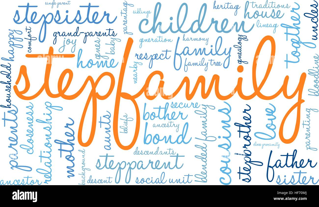 Stepfamily word coud on a white background. Stock Vector