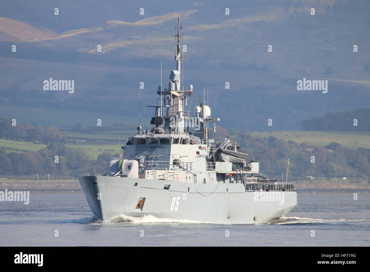 FNS Uusimaa (05), a Hameenmaa-class minelayer of the Finnish Navy, outbound past Greenock at the start of Exercise - Stock Image