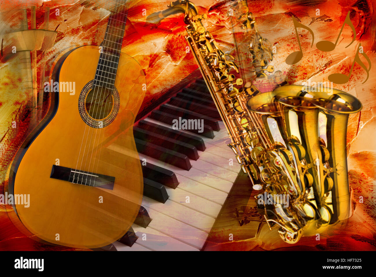 abstract musical instruments collage - Stock Image
