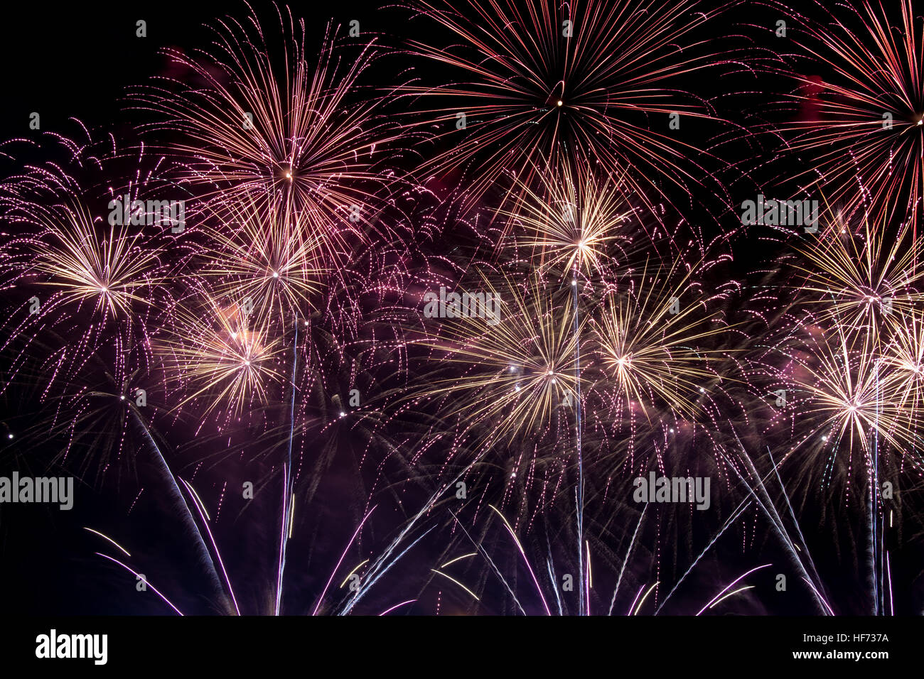 Fireworks colorful explosion of color brightness uae dubai dfc guinness worl record holder - Stock Image