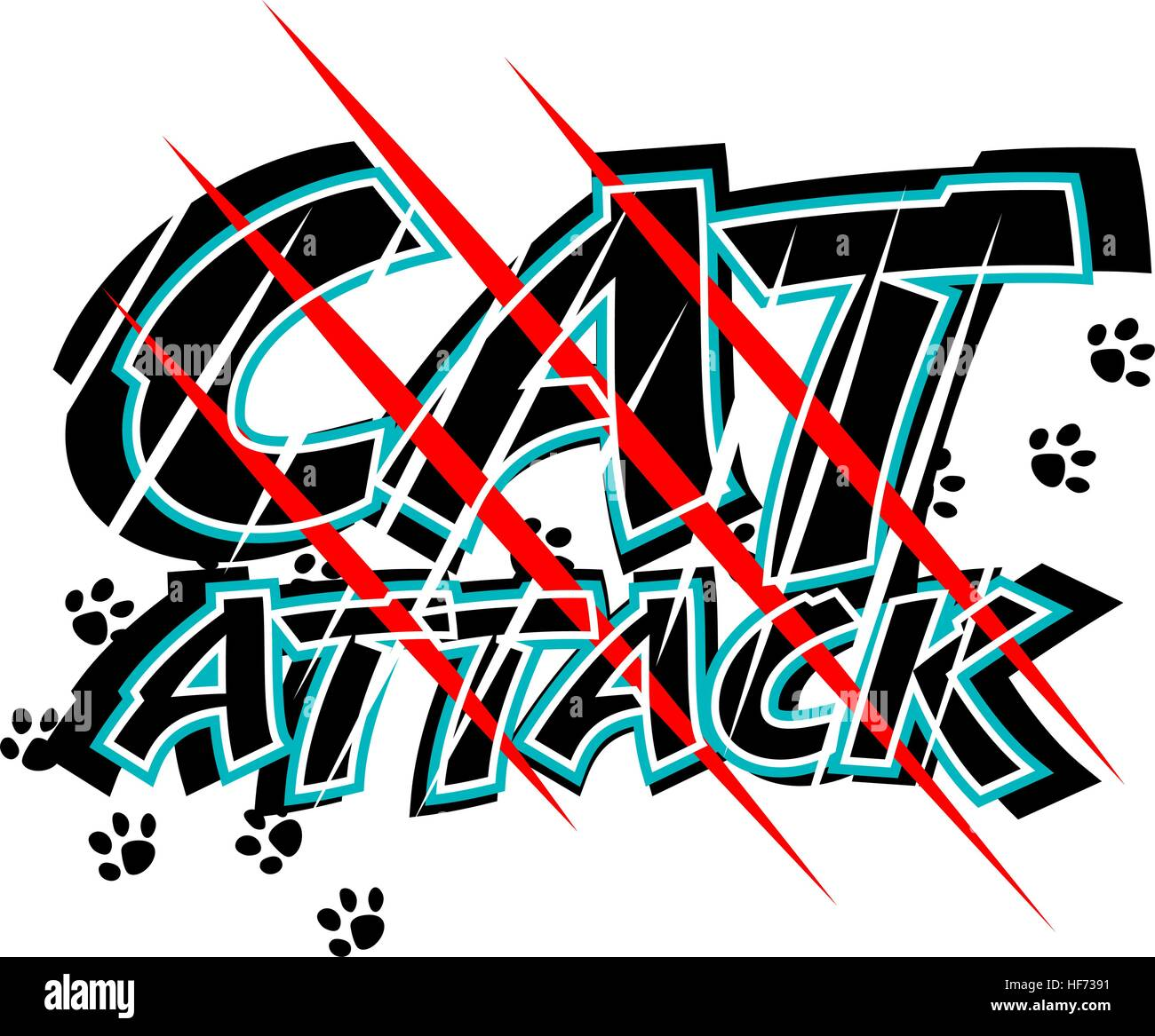 Vector illustration of claw scratch marks through the words cat attack - Stock Vector