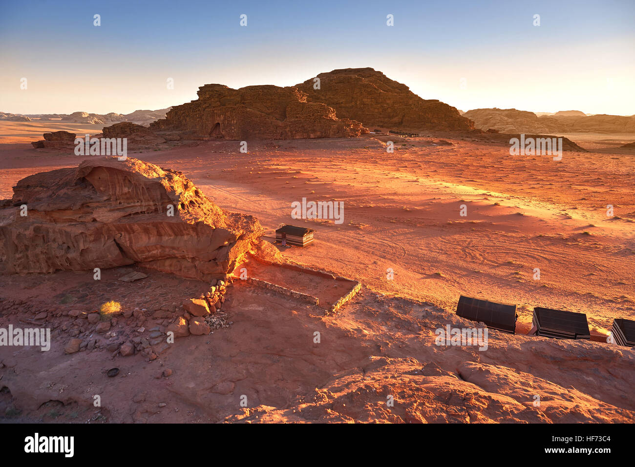 Scenic View Of Wadi Rum Against Clear Sky During Sunrise, Arabian Desert, Jordan - Stock Image