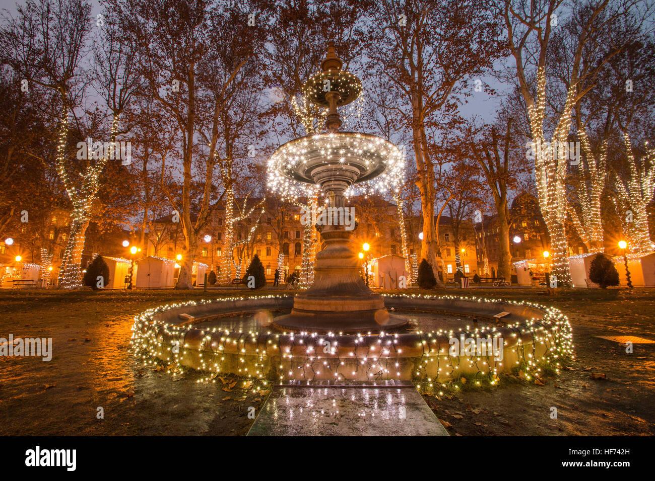 Illuminated Fountain In Zrinjevac Park Zagreb Croatia Christmas Stock Photo Alamy