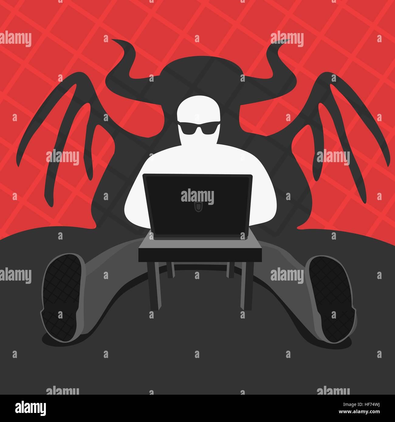 Hacker and Computer Devil Vector Illustration eps 8 file format - Stock Image