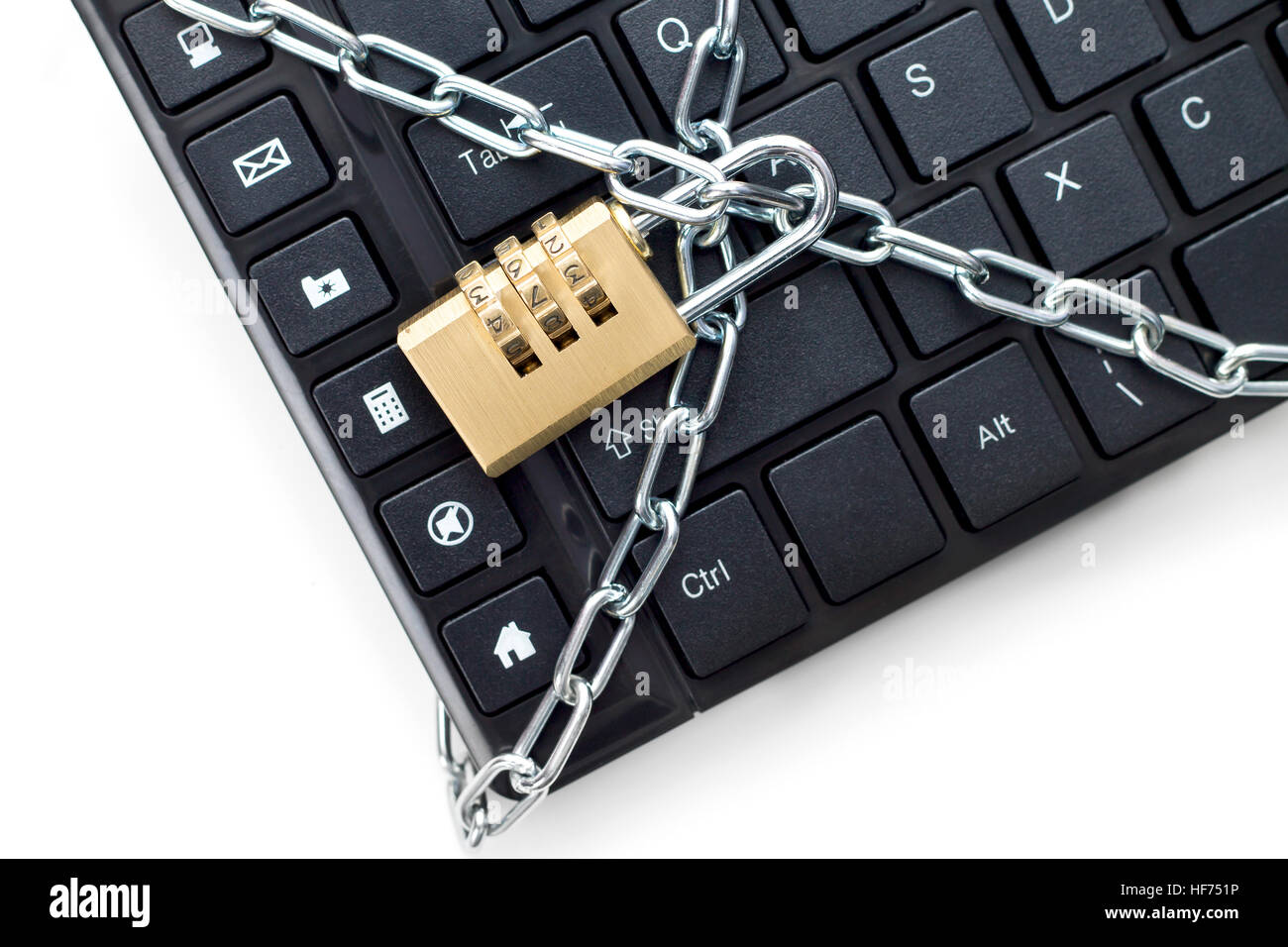 Locked chain on computer keyboard. Concept of security - Stock Image