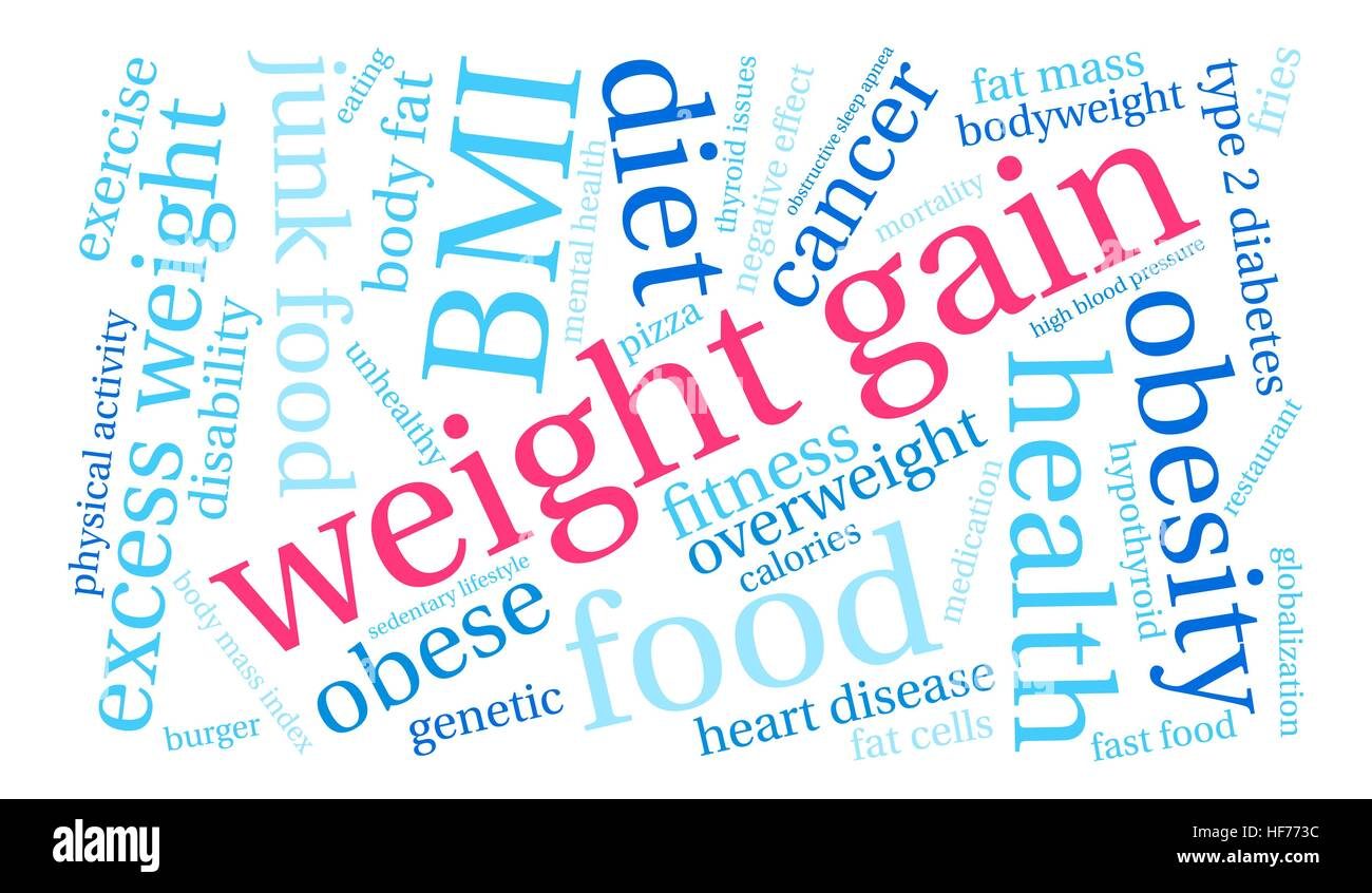 Weight Gain word cloud on a white background. - Stock Image