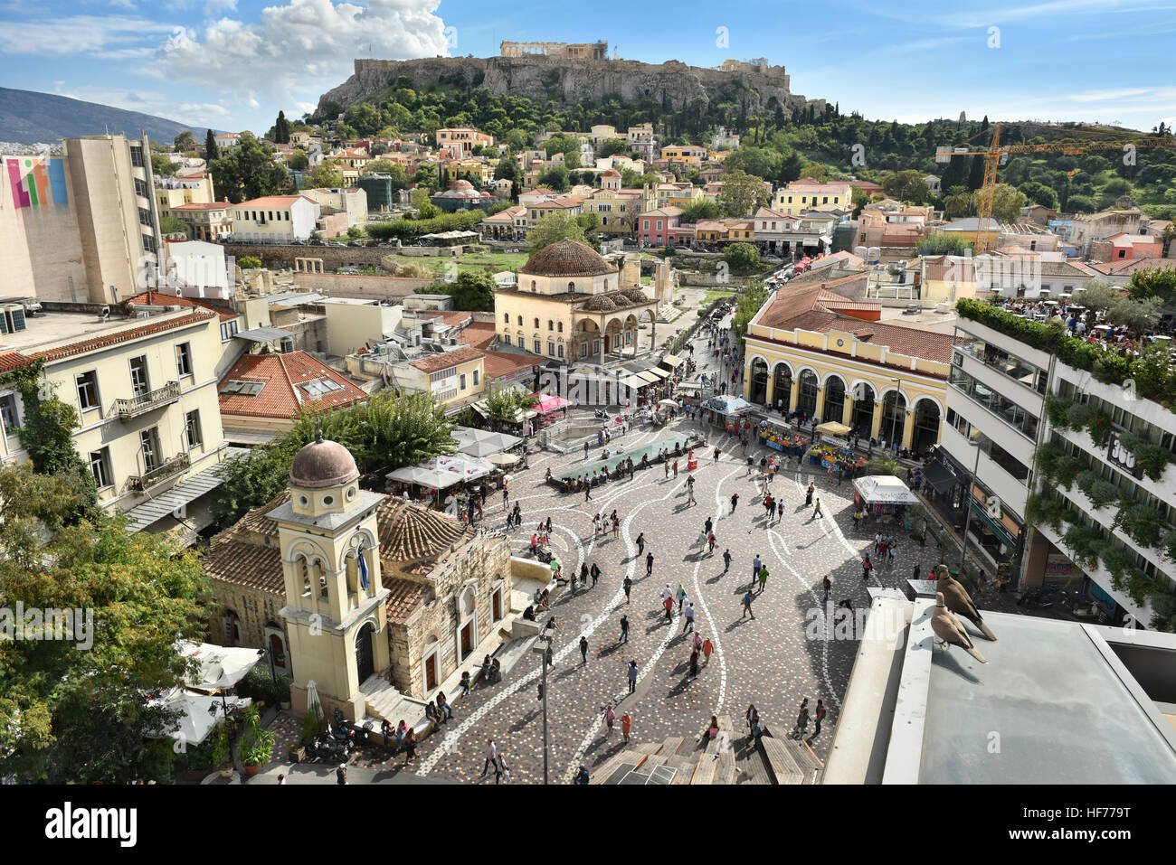 ATHENS, GREECE - OCT. 2015: Monastiraki square's aerial view. Located on Ermou Street, this is a flea market - Stock Image