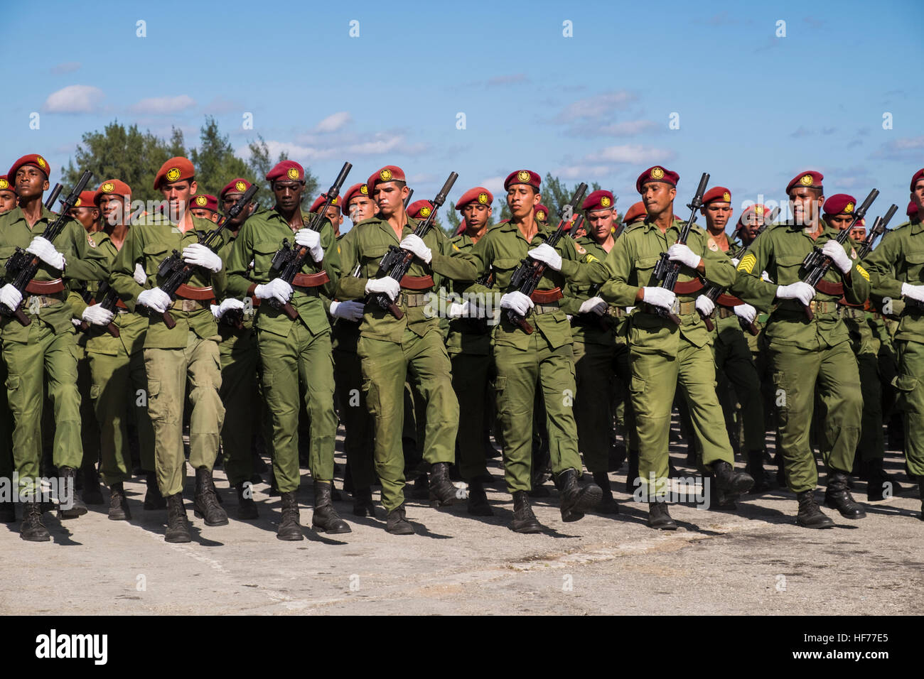 Military personel on training marches for the annual parade in honour of the Revolution, La Havana, Cuba. Stock Photo
