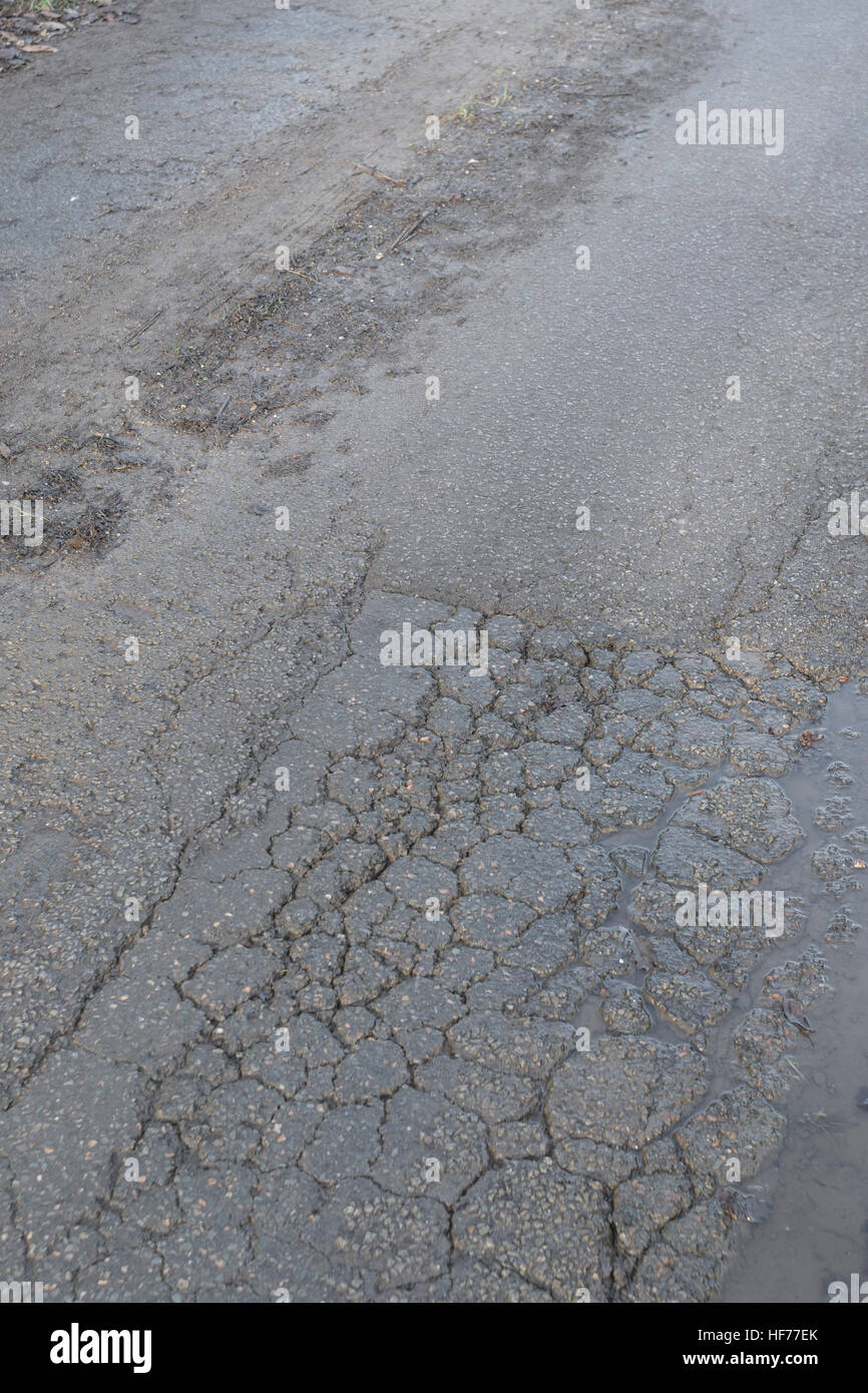 Frost damaged / cracked tarmac surface of a rural / country road in Cornwall, UK. Metaphor for concept of highways - Stock Image