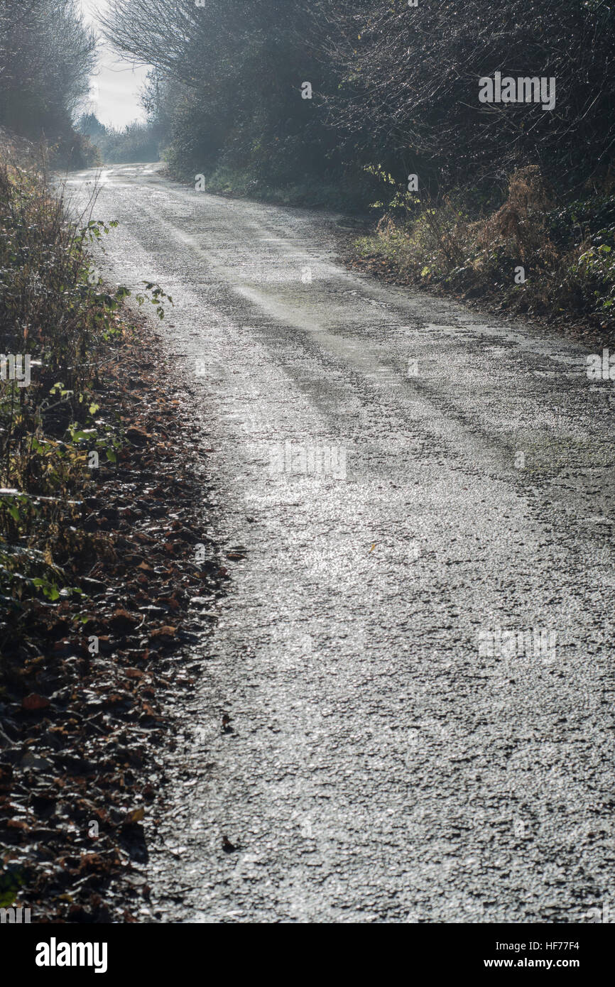 Country lane on a damp and cold misty morning in autumn. - Stock Image